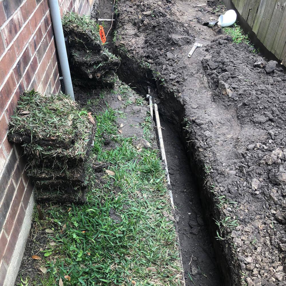 back yard landscape drainage