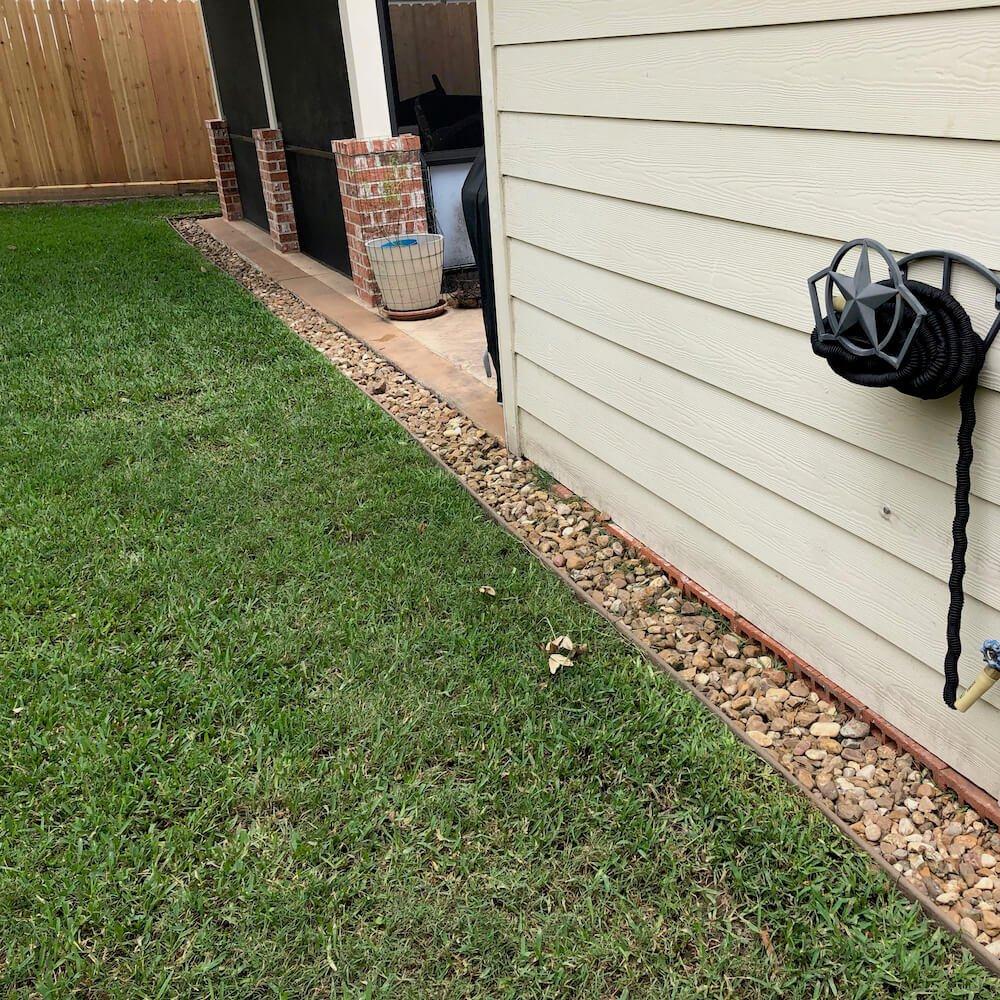 back yard storm landscape drainage 77095