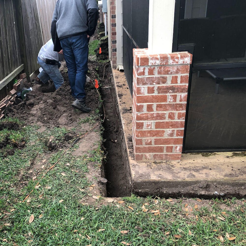french drain trench 77042