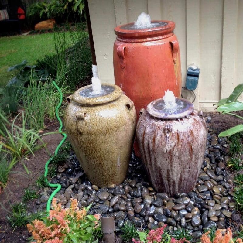 Three pot fountain back yard houston