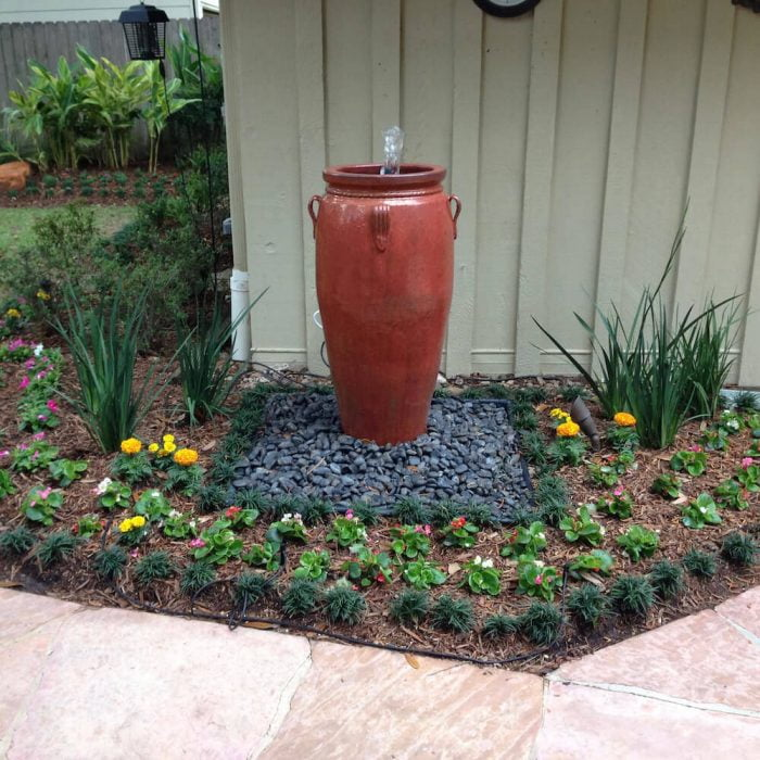 One Pot landscaping fountain houston