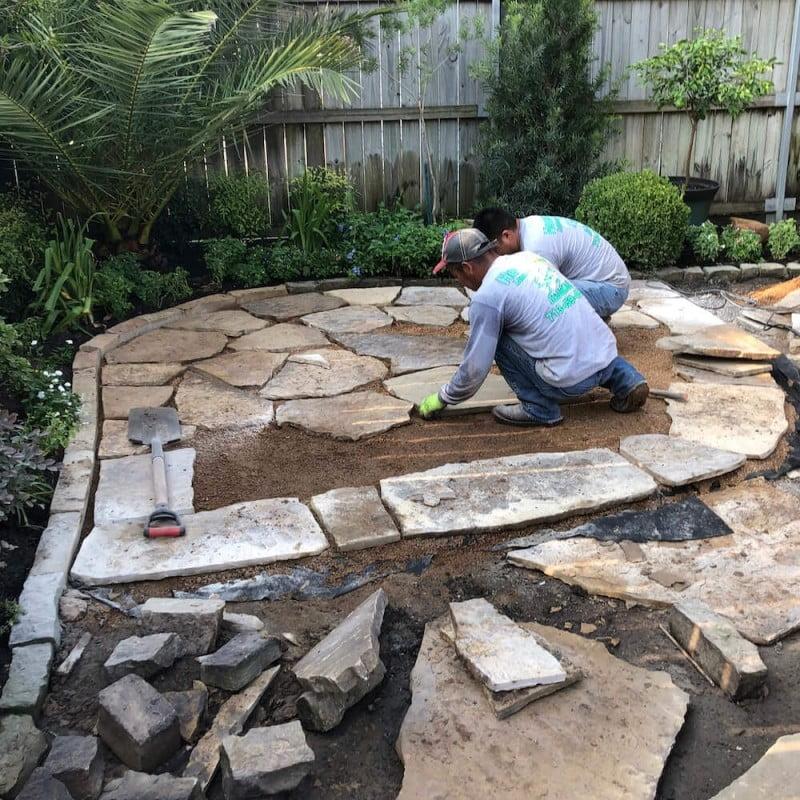 backyard landscaping pavers patio Houston 77077