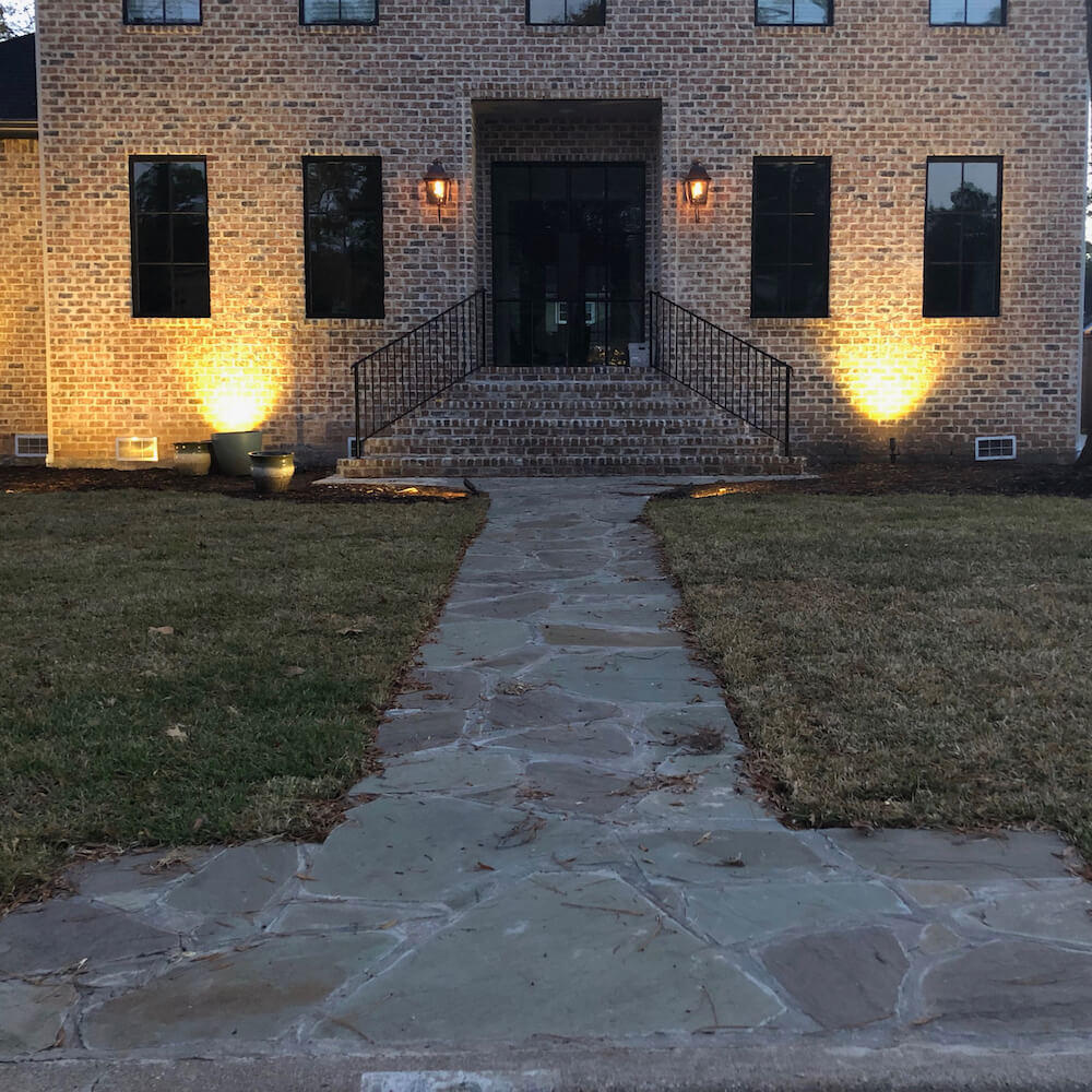 front yard flagstone paver walkway 77042