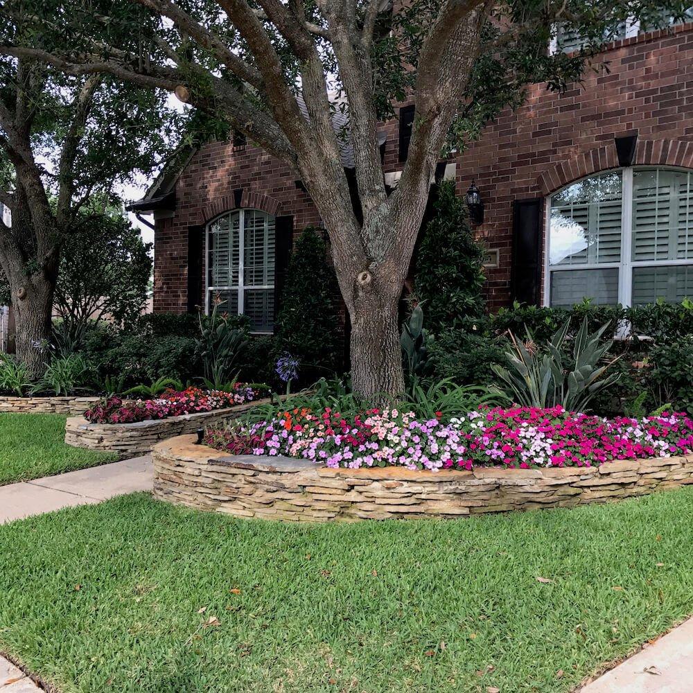 front yard landscape flagestone paver katy