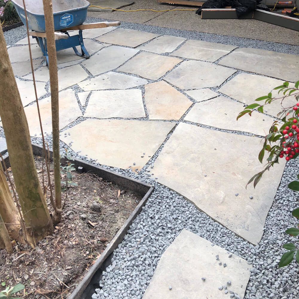 paver flagstone black star gravel patio 77024