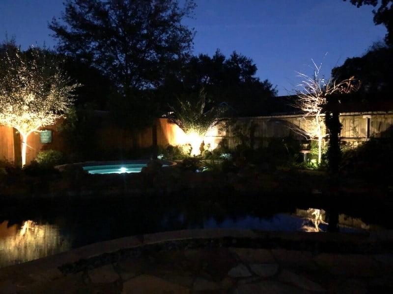 backyard landscape lighting houston after 77027