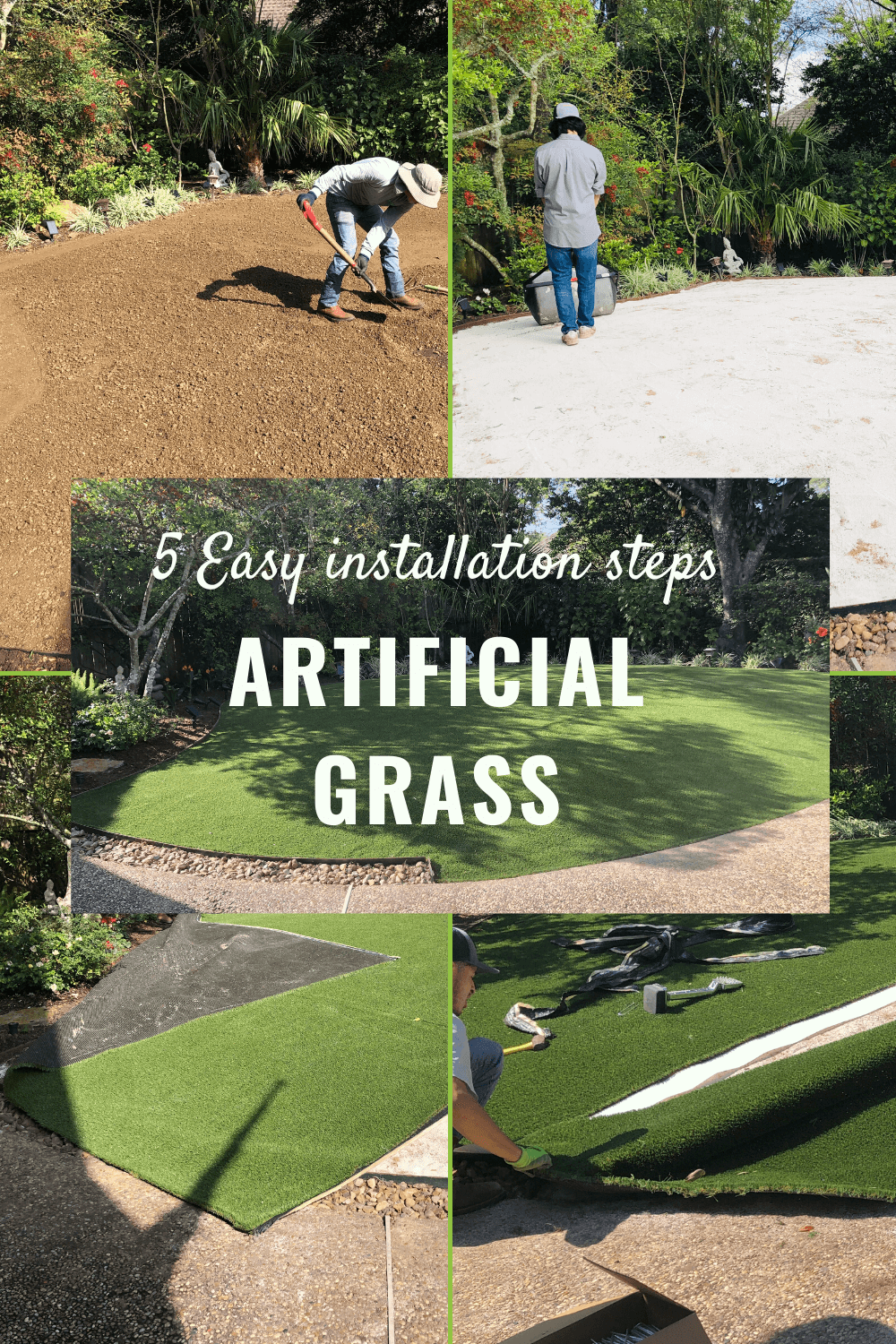 artificial grass installation 5 steps houston