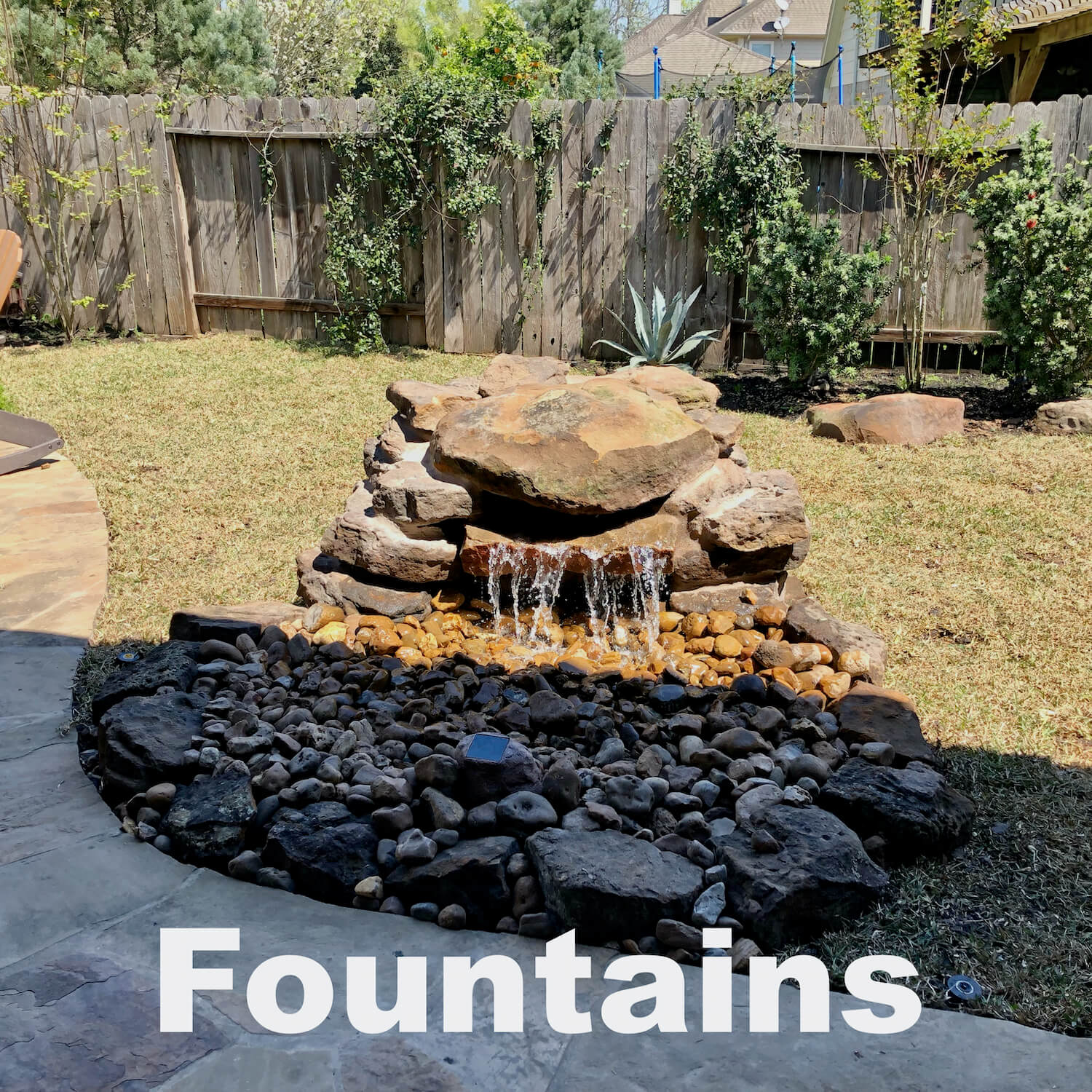 fountains backyard landscaping houston 77042